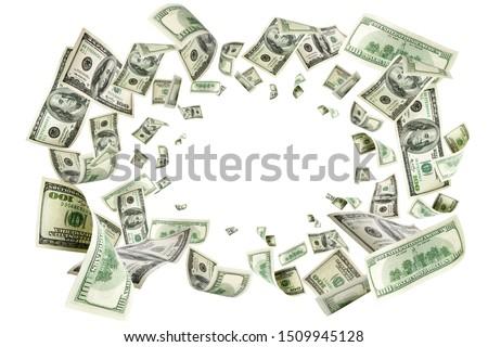 American money. Money falling. Dollar sign. Cash background, us bill.