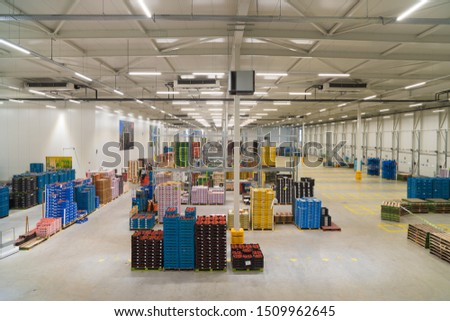 IJSSELMUIDEN, NETHERLANDS - APRIL 6, 2019: Interior of a warehouse of a fruit and vegetables wholesale business #1509962645