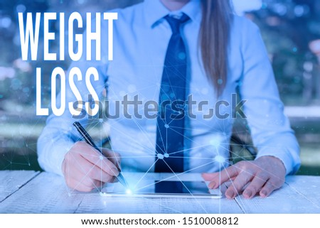 Conceptual hand writing showing Weight Loss. Business photo showcasing Decrease in Body Fluid Muscle Mass Reduce Fat Dispose Tissue Female human wear formal work suit presenting smart device. #1510008812