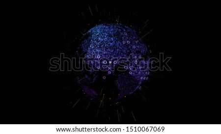 Futuristic global communication via broadband internet connections between cities around the world with matrix particles continent map for head up display background #1510067069