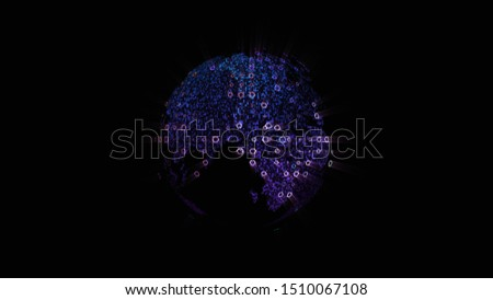 Futuristic global communication via broadband internet connections between cities around the world with matrix particles continent map for head up display background #1510067108