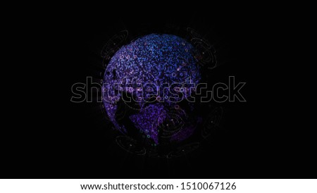 Futuristic global communication via broadband internet connections between cities around the world with matrix particles continent map for head up display background #1510067126
