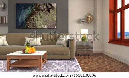 Interior of the living room. 3D illustration. #1510130006