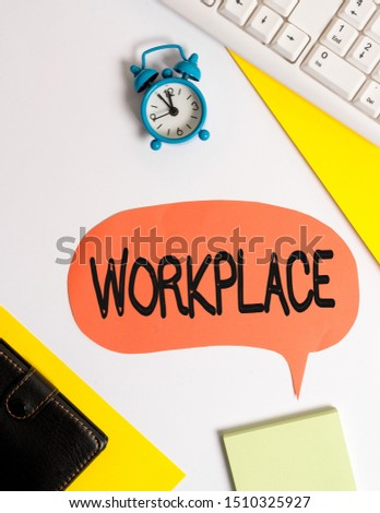 Word writing text Workplace. Business concept for Area where you can find busy showing doing their job orders Flat lay with copy space on bubble paper clock and paper clips. #1510325927