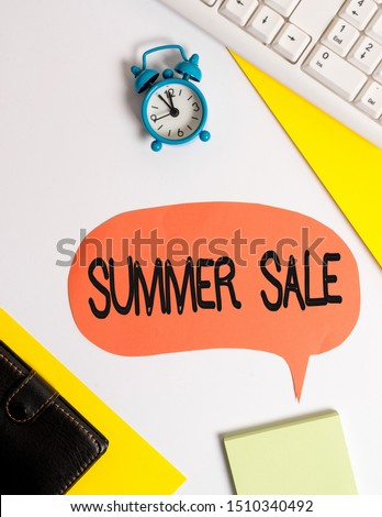 Word writing text Summer Sale. Business concept for Annual discount events that takes place during summer season Flat lay with copy space on bubble paper clock and paper clips. #1510340492