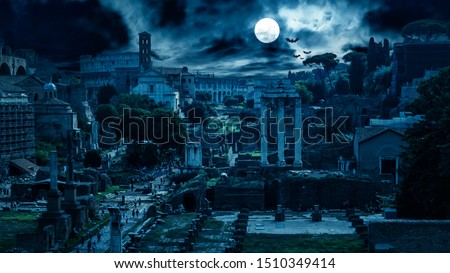 Mystery creepy view of Roman Forum at night, Rome, Italy. Scary gloomy panorama of ruins of old houses with bats and zombies. Spooky dark scene in full moon for Halloween. Horror and terror concept. #1510349414
