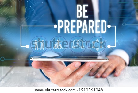 Word writing text Be Prepared. Business concept for Getting ready for whatever will happen Plan Ahead of time Male human wear formal work suit presenting presentation using smart device. #1510361048
