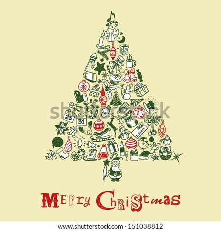 Christmas tree with hand drawn icons #151038812