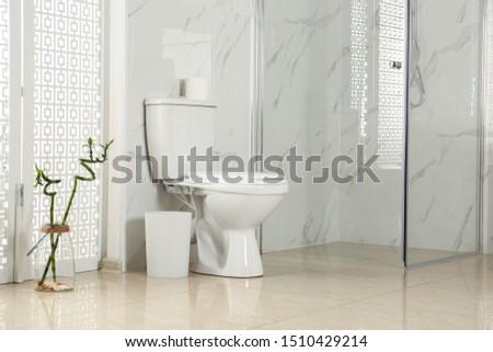 Toilet bowl near shower stall in modern bathroom interior #1510429214