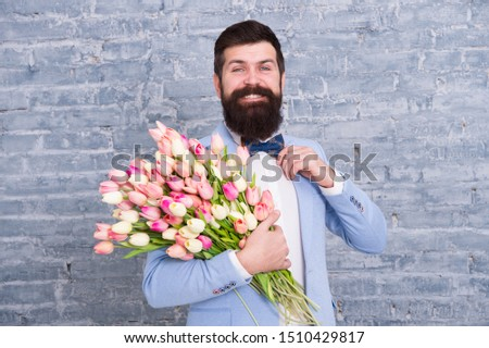 In great mood. Greeting spring. March 8. Love. international holiday. Bearded man with wedding tulip bouquet. Womens day. Spring. Bearded man with wedding flowers. wedding day. Its my wedding. #1510429817