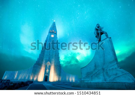 hallgrimskirkja is one of the highest and most famous lutheran church in Reykjavik,Iceland. It is design by Icelandic architecture. There is green northern light and aurora borealis #1510434851