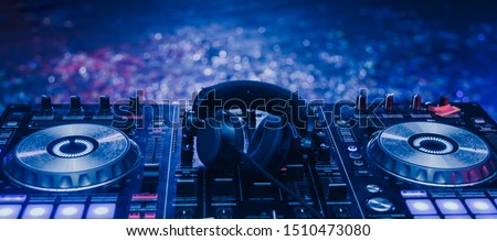 Club Concert Party Musical EDM Sound on Stage Show DJ . Bokeh Blur Background. Royalty-Free Stock Photo #1510473080