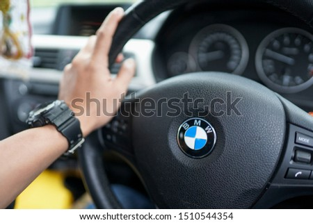 Kedah,Malaysia - 17-09-2019 : the hand holding the steering in the BMW F30 car when driving. #1510544354