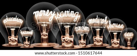 Group light bulbs with shining fibers in a shape of Money Saving related words isolated on black background. Concept Investment, Mortgage and Insurance. #1510617644
