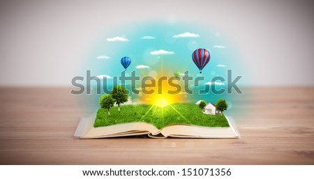 Open book with green nature world coming out of its pages, ecological concept #151071356