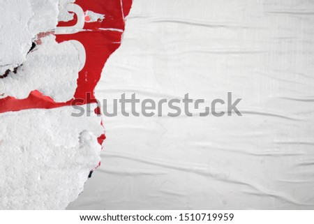 Urban artistic style weathered white poster with torn paper edges and negative space #1510719959