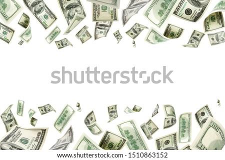 American money. Money falling. Dollar sign. Cash background, us bill.  #1510863152
