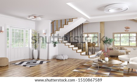 Modern interior design of house, hall, living room with staircase 3d rendering #1510867589