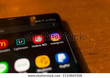 Kuala Lumpur, Malaysia - September 22 2019: Icon of Instagram on Samsung Galaxy Note 9 #1510869308