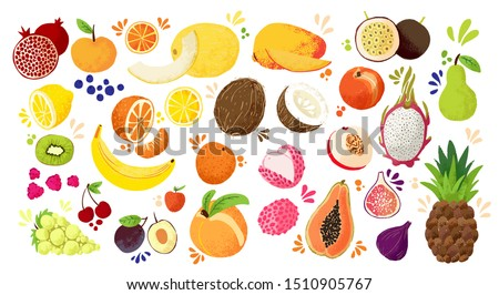 Set of colorful hand draw fruits - tropical sweet fruits, and citrus fruit illustration. Apple, pear, orange, banana, papaya, dragon fruit, lichee and other. Vector colored sketch isolated #1510905767