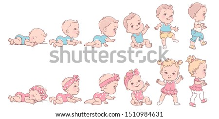 Baby girl and boy in row. Set of child health and development icons in line. Scale of baby growth from newborn to toddler. First year milestones. Cute  kid of 1-12 months. Vector color illustration.