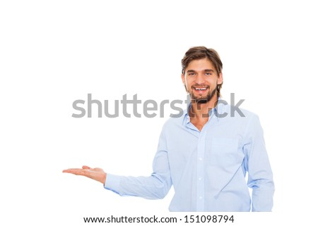 young business man happy smile hold open palm to empty copy space, Handsome businessman showing pointing side, concept of advertisement product, isolated over white background #151098794