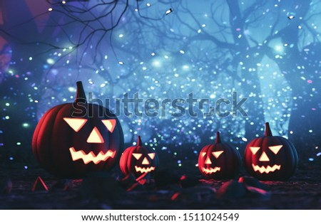 Spooky forest with halloween pumpkins,3d illustration #1511024549