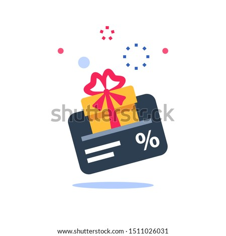 Gift card, loyalty program, earn points, redeem present box, more discount, perks concept, vector flat icon #1511026031