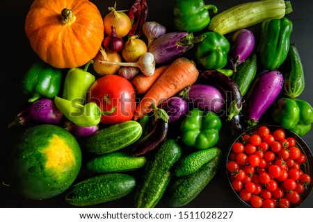 Harvest or Thanksgiving background with autumn vegetables on dark table. Seasonal ingredients for cooking: pumpkin, onions, carrots, eggplant, tomatoes, paprika, garlic, cucumbers. Top view, close-up. #1511028227