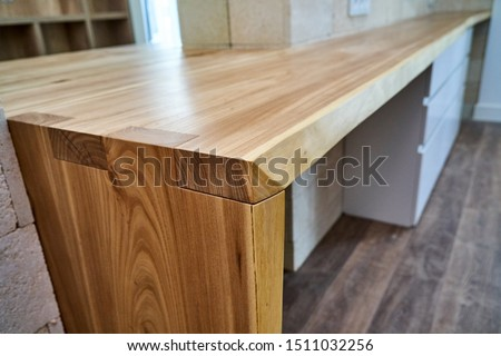Live edge counter top. Wooden live edge table in solid elm. Solid elm countertop. Details furniture. Loft style boudoir table #1511032256