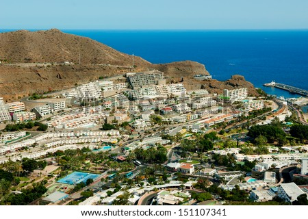 Puerto Rico resort in Gran Canaria, bird view Royalty-Free Stock Photo #151107341