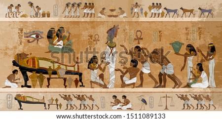 Ancient Egypt. Mummification process. Concept of a next world. Pharaoh sarcophagus. Egyptian gods, mythology. Hieroglyphic carvings. History wall painting, tomb King Tutankhamun #1511089133