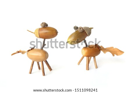 Cute small horses made from acorns isolated on white background. Creative funny animal figures made from acorn in autumn time. 