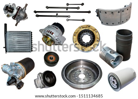 Auto spare parts car on the white background. Set with many isolated items for shop or aftermarket #1511134685