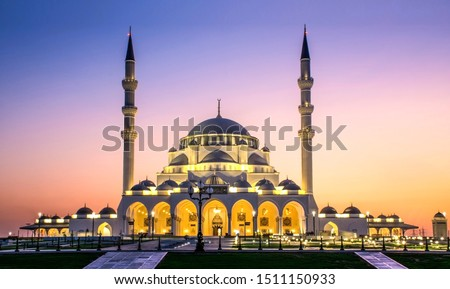 Beautiful Mosque in Sharjah Largest mosque in Dubai beautiful traditional Islamic architecture, Arabic Letter means: Indeed, prayer has been decreed upon the believers a decree of specified times #1511150933