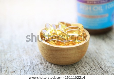 Fish oil supplement with bottle for health care eating in daily life  #1511152214