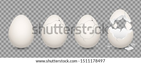 Cracked egg. Cartoon 3d realistic chicken broken eggs with cracks and smithers. Vector illustration culinary ingredient set on transparent background Royalty-Free Stock Photo #1511178497