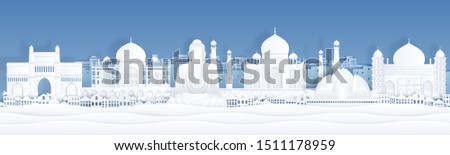 Paper cut India. Landscape travel banner template with Taj Mahal and famous Indian landmarks. Vector paper church city panorama, symbols world arts and architecture monument #1511178959