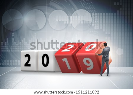 Concept of changing year from 2019 to 2020 Royalty-Free Stock Photo #1511211092