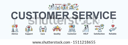Customer service banner web icon for business, help, mind, advice, customer care, satisfaction, experience, quality and support. Flat cartoon vector infographic. #1511218655