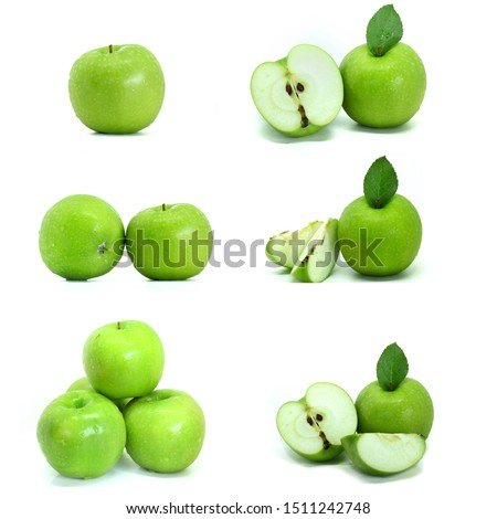 Collection of whole,half,piece of Green Apple(Malus pumila) isolated on white background.Sweet ,sour and freshness taste.Have a lot of fiber,vitamins and minerals.Food,Fruits or healthcare concept. #1511242748