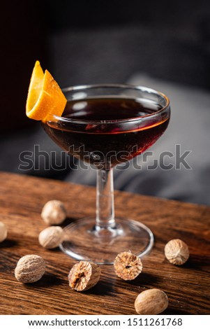 cocktail with nutmeg on the wooden table #1511261768