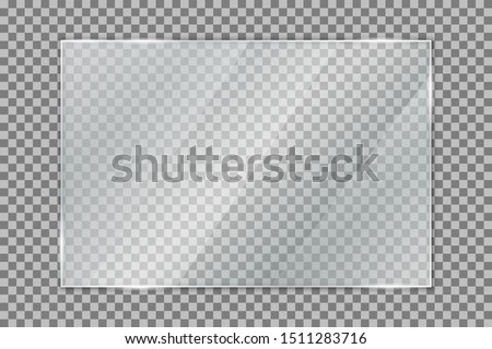 Glass plate on transparent background, clear glass showcase, realistic window mockup, acrylic and glass texture with glares and light, realistic transparent glass window in rectangle frame – vector #1511283716