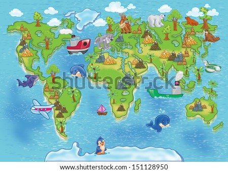Funny cartoon world map. All continents animals