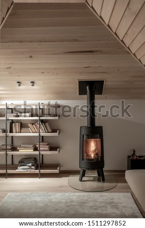 Amazing modern interior with sloping wooden ceiling with luminous lamps and white walls and a parquet with a carpet on the floor. There are shelves with plaids and many books, burning fireplace, sofa.