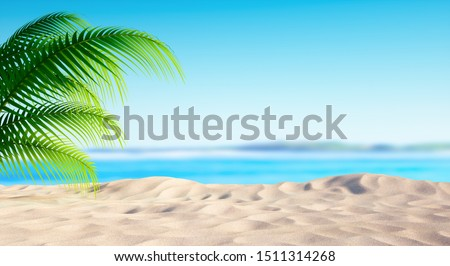 Empty sandy beach with palm leave and a sunny blue sky - 3D illustration #1511314268
