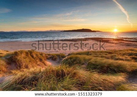 Sunset over Big Sand beach at Gairloch in Scotland, looking out to Longa Island #1511323379
