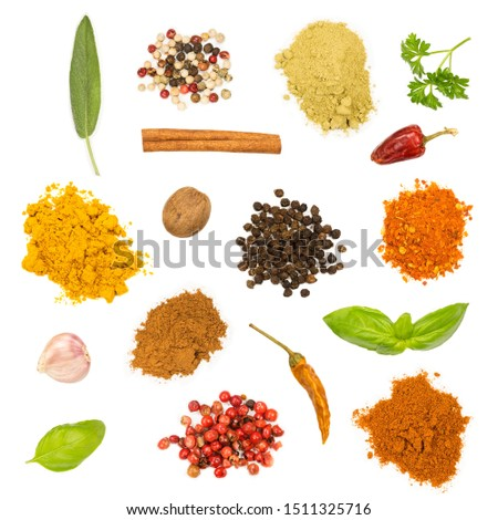 Various herbs and spices isolated on white background #1511325716