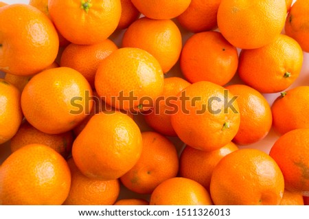 Top view. Fresh tangerines. Ripe and tasty mandarins. Clementines. Background tangerines. #1511326013
