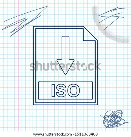 ISO file document icon. Download ISO button line sketch icon isolated on white background